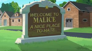 Malice welcome sign
