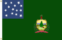 Vermont State flag proposal No. 21 (Vermont Republic Green Mtn Boys 14 star) by Stephen Richard Barlow 19 MAY 2015 at 1150 HRS CST