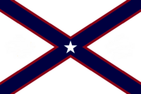 Alabama State Flag Proposal St Andrews Cross Concept 5pt Republic Star Centered over Dark Blue over Crimson Cross Designed By Stephen Richard Barlow 28 July 2014