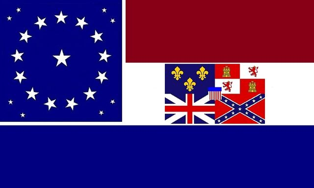 File:Alabama State Flag Proposal 22 Star Medallion Pattern Crimson White and Blue Stars and Bars concept with Flags over AL Center White Bar Designed By Stephen R Barlow 2 Aug 2014.jpg