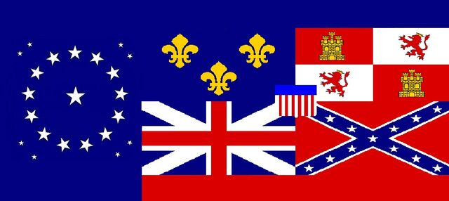 File:Alabama State Flag Proposal 22 Star Medallion Pattern with Flags Flown over Alabama Designed By Stephen R Barlow 30 July 2014.jpg