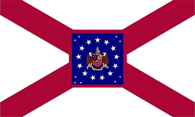 File:Alabama State Flag Proposal St Andrews Cross Concept with 22 Star Medallion Pattern with State Coat of Arms & Crimson Boarder Centered Designed By Stephen Richard Barlow 29 July 2014.jpg