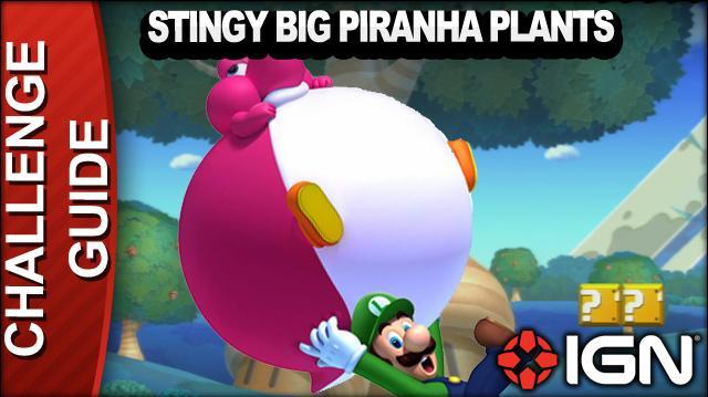 New Super Mario Bros. U Challenge Walkthrough - Stingy Big Piranha Plants
