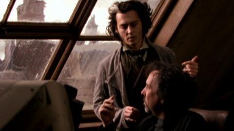 Sweeney Todd The Demon Barber Of Fleet Street (2007) - Behind the scenes Alan Rickman, Johnny Depp, and Tim Burton