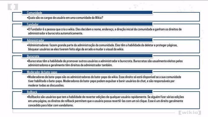Universidade da Wikia - Introducao aos cargos de usuarios