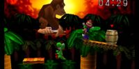 Defeating giant Donkey Kong in Super Smash Bros.