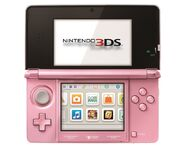 Pearl Pink Nintendo 3DS Powered On