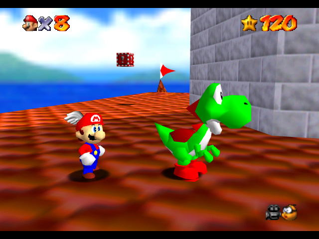 File:Yoshi on the roof SM64.jpg