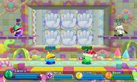 Kirby Fighters Deluxe - Springy Hand Land