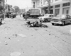 Scene of Viet Cong terrorist bombing in Saigon, Republic of Vietnam., 1965