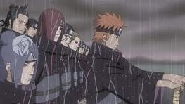 Yahiko, Konan, and Nagato forming the Akatsuki