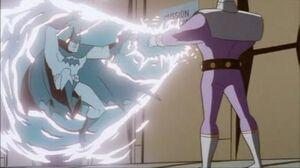 Superman (disguised as Batman) vs Brainiac