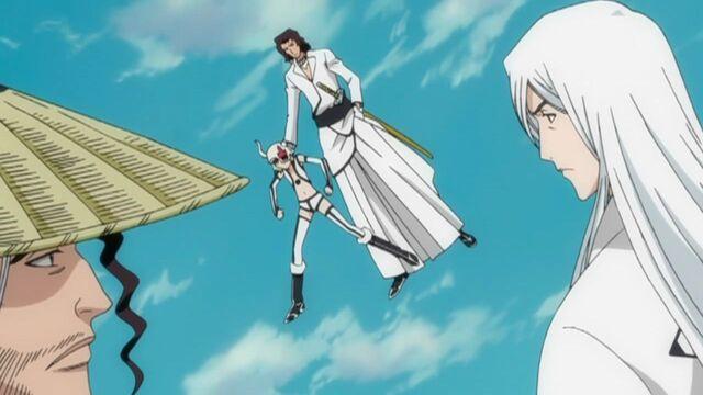 File:Ukitake & Kyōraku Confronting Starrk & Lilynette.jpg