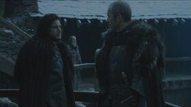 Jon says farewell to Stannis