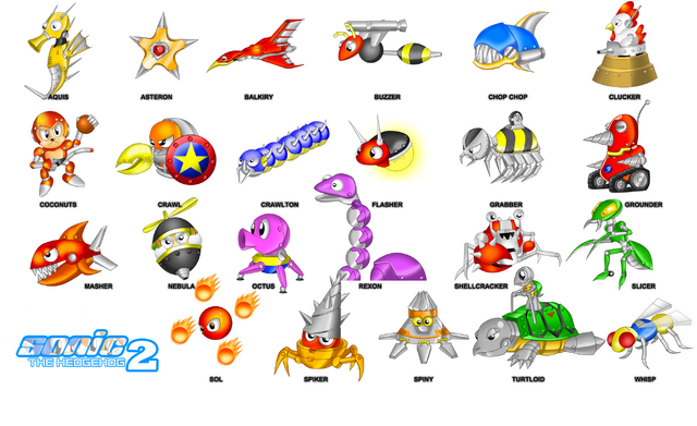 File:Collection of Badniks (Sonic 2).png