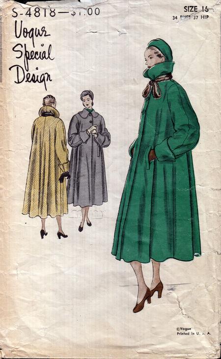 Vintage vogue coat pattern from Penelope Rose at Artfire