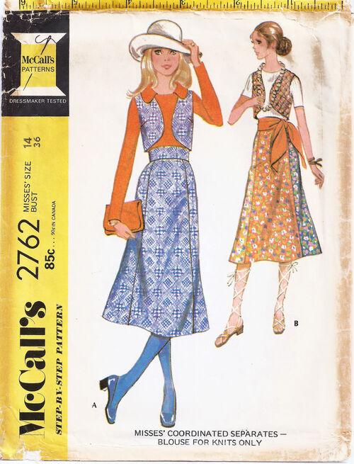 1971 High waist skirt, Vest, Knit top chop