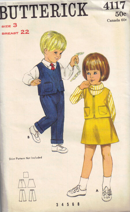 C1970s 4117 Butterick Children suit skirt pants 2