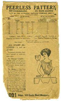 Antique 1890s Peerless Pattern 4091 Ladies Corset Cover