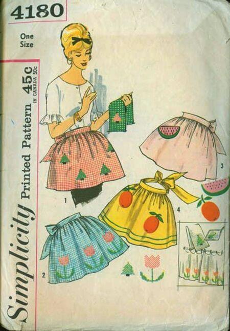 Vintage 1950s Apron Pattern Simplicity 4180 image
