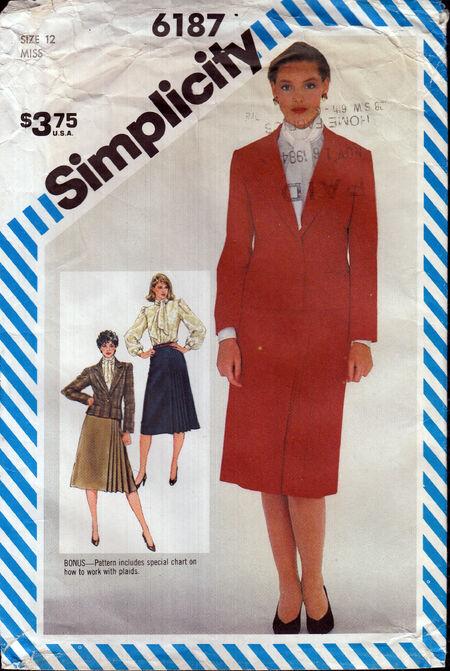 Vintage sewing pattern 1980s pleated skirt blouse jacket Penelope Rose at Artfire
