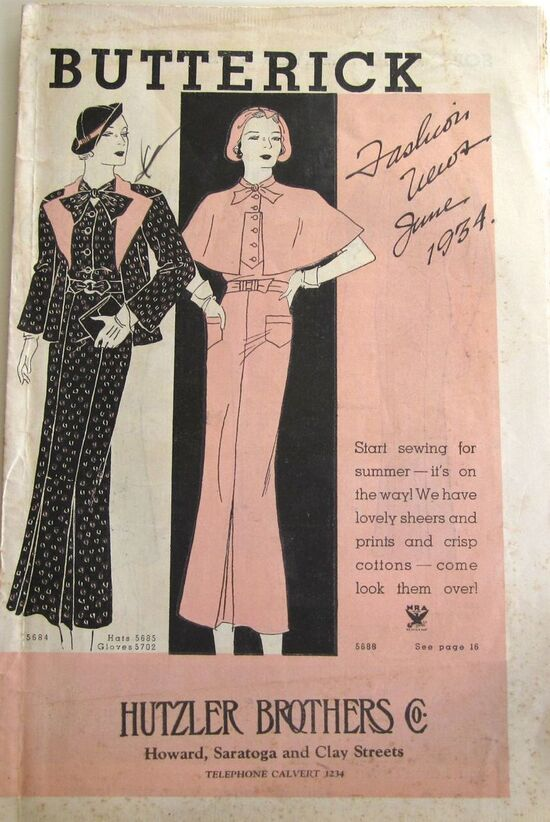 Butterick Fashion News June, 1934