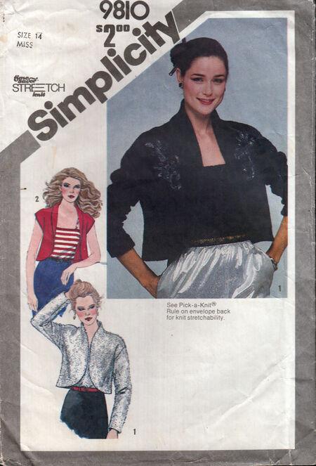 Penelope Rose vintage sewing pattern 1980s bolero jacket