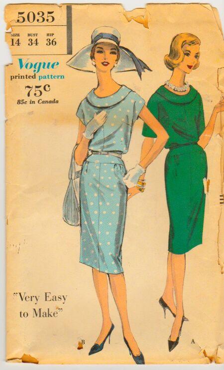 Vogue 5035 Vintage Sewing Pattern 1950s 1