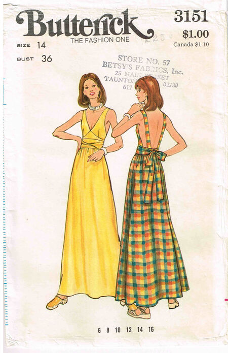 C1970s 3151 Butterick Dress