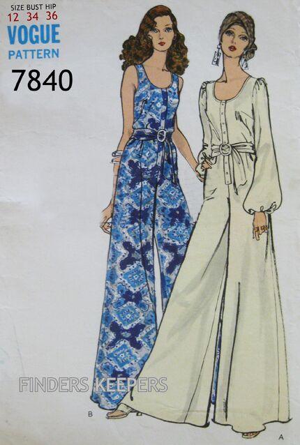 VOGUE -7840 Pattern Vintage 1960s Misses Jumpsuit Pic 1A