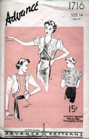 File:Advance 1716 Vintage 1930's Puff Sleeve Bolero Pattern B32 image.jpg