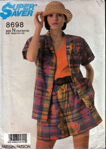 Penelope rose vintage sewing pattern 1980s shirt and shorts