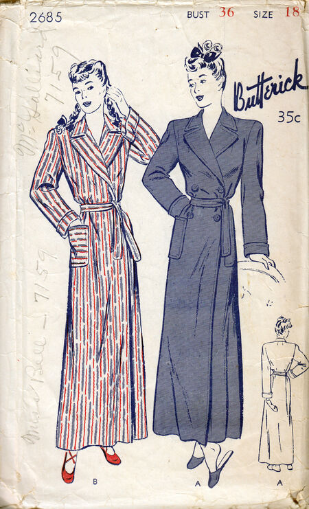 Penelope Rose vintage sewing pattern 1940s robes