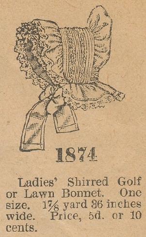 Butterick 1874 bonnet 1900