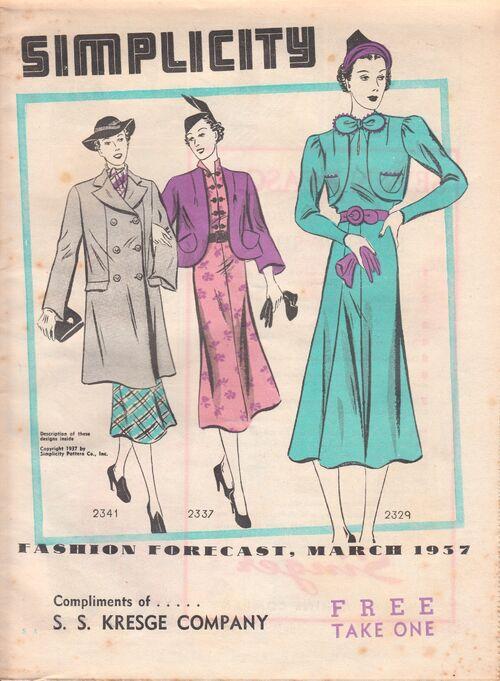 Simplicity Fashion Forecast march 1937.
