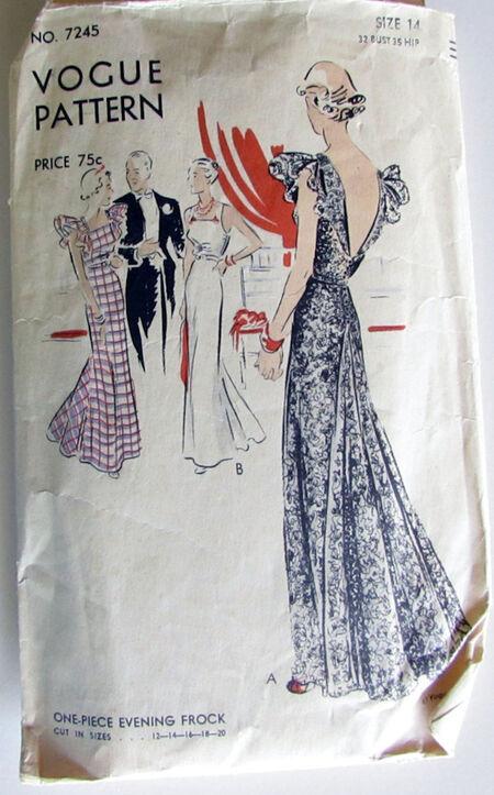 Vogue Pattern 7245 One Piece Evening Frock Dress Bust 32 Hip 35