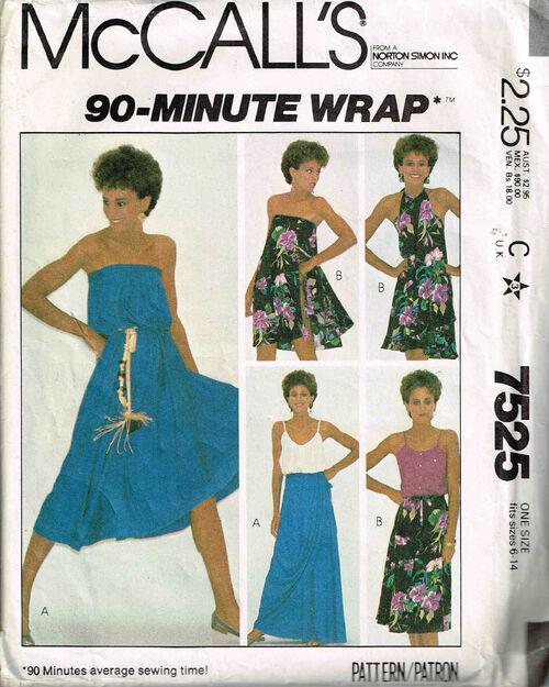 C1981 7525 McCalls Dress Wrap 6-14