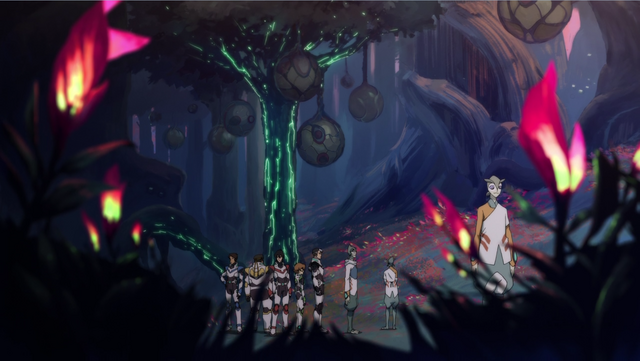 File:S2E04.158. Voltron crew standing beneath mech tree.png