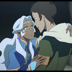 After Allura awakes from her cryosleep, Lance catches her.