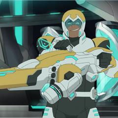Hunk's bayard manifests as a giant gun cannon.