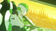 S2E04.108. Pidge staring out Green's cockpit at Olkari city