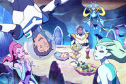 Lance, Hunk, Queen Luxia and Mermaid Aliens
