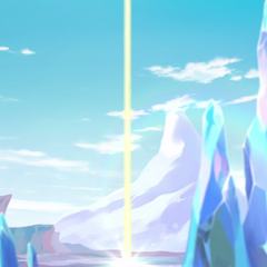 The energy beacon on the planet's frozen surface.