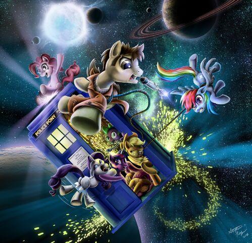 File:107898 - applejack Doctor Whoof Doctor Whooves fluttershy pinkie pie rainbow dash rarity spike tardis twilight sparkle.jpg
