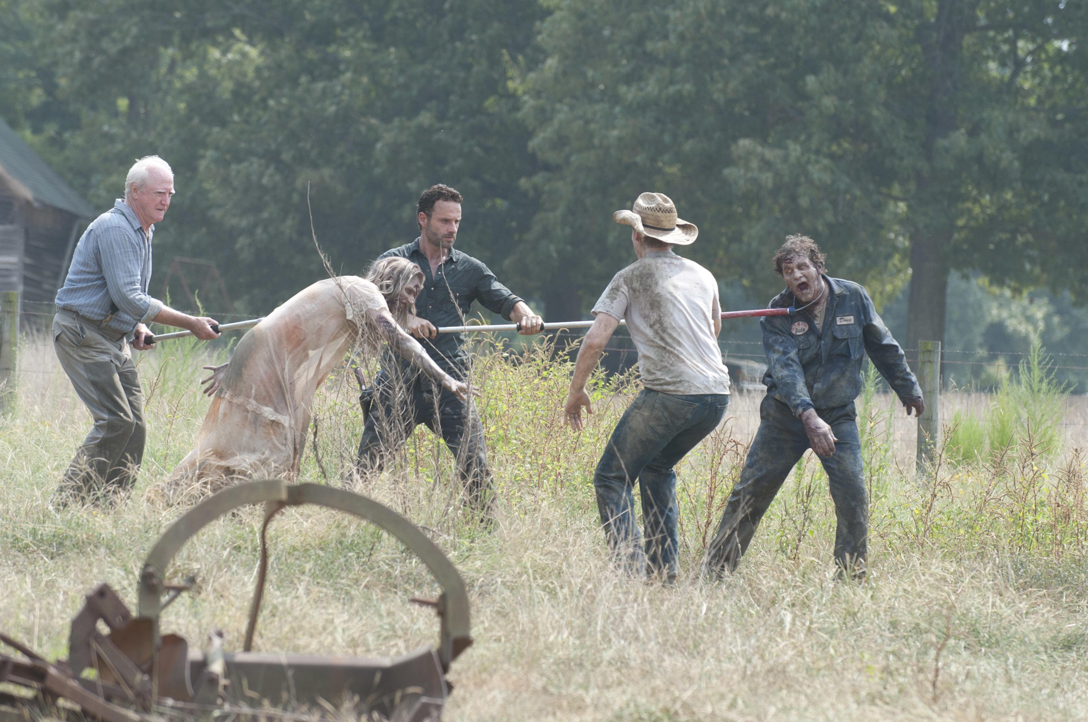 File:Jimmy, hershel, Rick, walkers.jpg