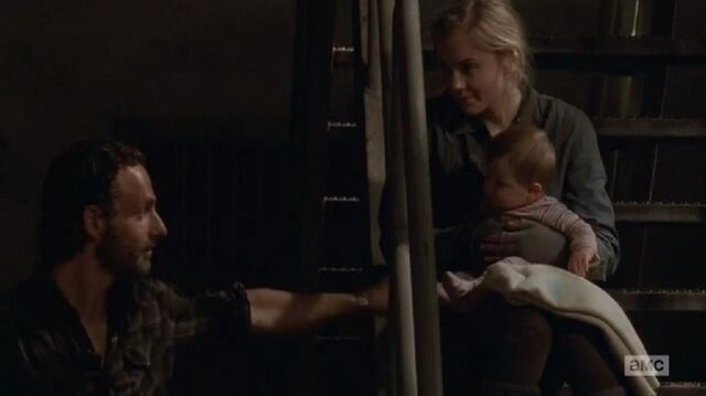 File:Rick and Beth in stairs with Judith in her arms.JPG