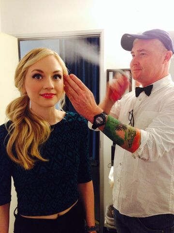 File:Emily Kinney getting maked up while being a barbie.JPG