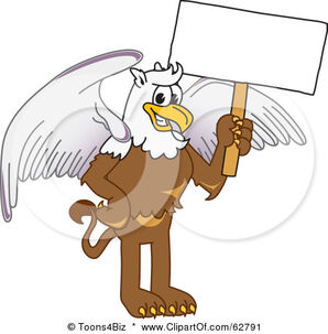 62791-Royalty-Free-RF-Clipart-Illustration-Of-A-Griffin-Character-School-Mascot-Holding-A-White-Sign