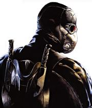 A picture of Wesley as he appeared in the comics wearing the Killer Suit .