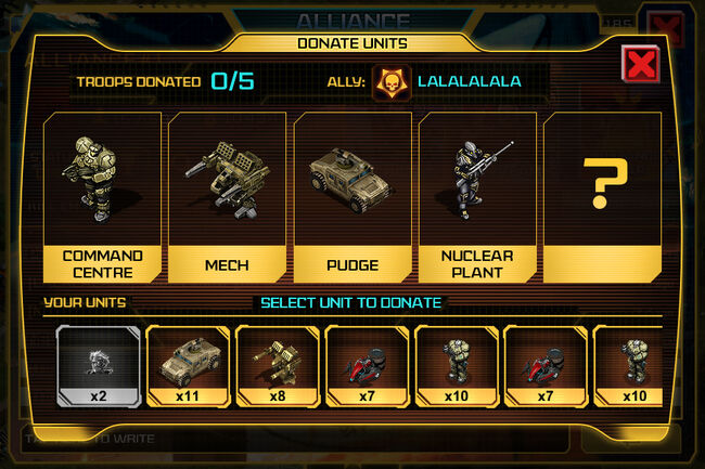 WarInc Alliance DonateUnits